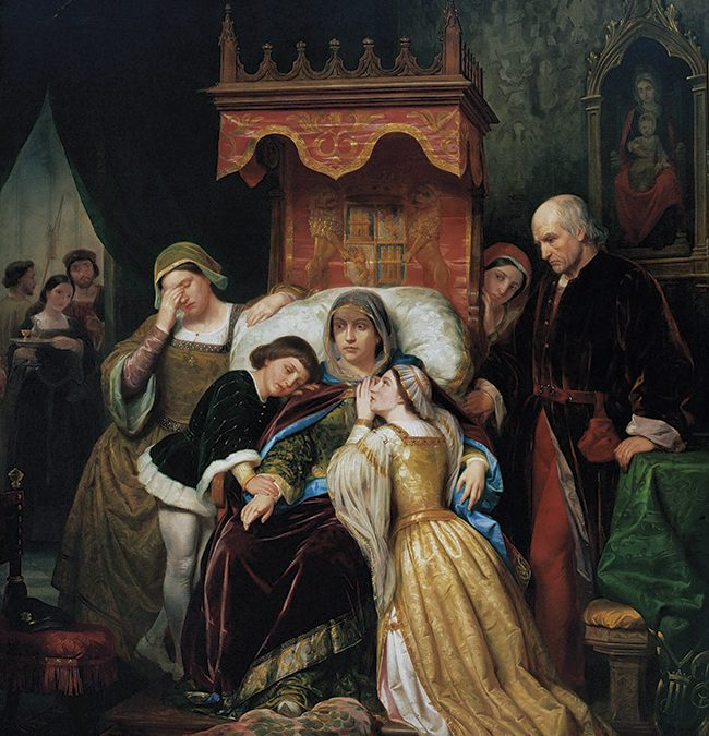 #ReinaelArte: La demencia de Isabel de Portugal. Peregrín Clavé, 1855. Museo de la Academia de Bellas Artes de San Fernando de México.