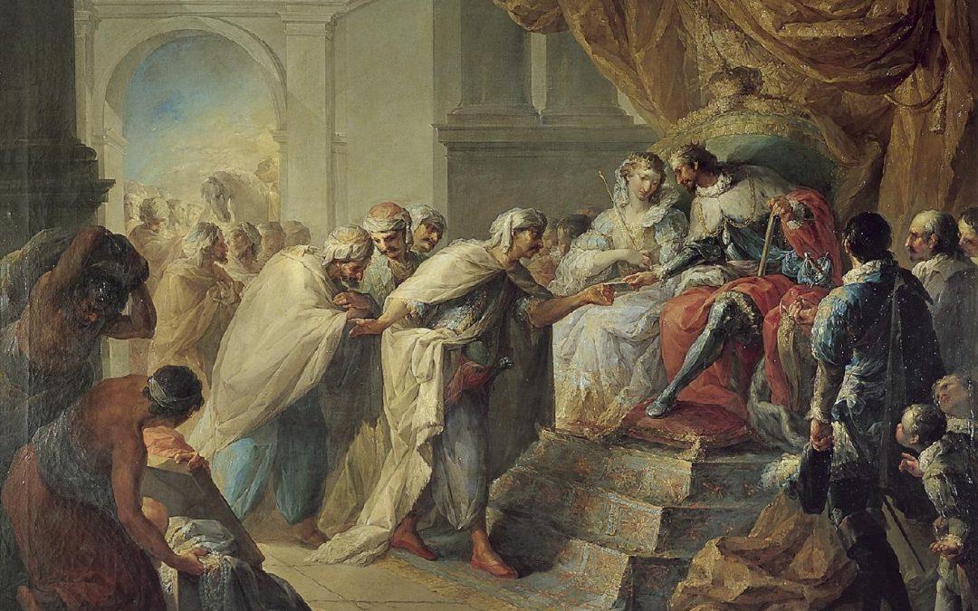 #ReinaelArte: Los Reyes Católicos recibiendo una embajada del rey de Fez. Vicente López, 1790. Museo de la Real Academia de Bellas Artes de San Fernando (Madrid).